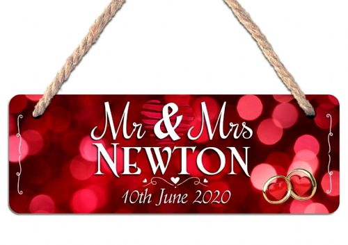 Personalised Mr & Mrs Wedding Hanging Door Sign Plaque N23
